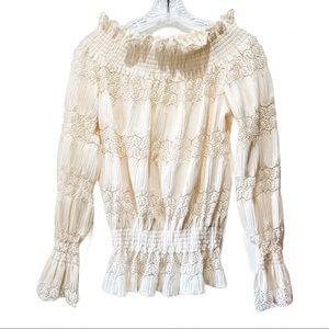 Romantic Frilly Ivory Off Shoulder Blouse Sexy M L